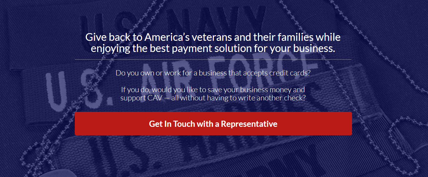 Give back to americas veterans and their families cavt through it we can offer businesses an easy solution for one of your daily expenses credit and debit card processing fees reheart Gallery